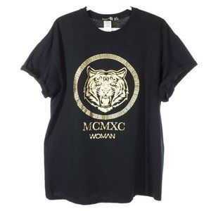 BOOHOO Gold Tiger MXMXC T-Shirt Black Rolled